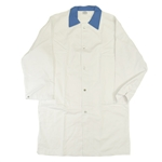 Heavy Duty White Butcher Coat with Blue Collar