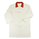 Heavy Duty White Butcher Coat with Red Collar
