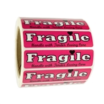 "Pink ""Fragile Handle with Tender Loving Care"" Label - 1"" by 4"" - 1000 ct"