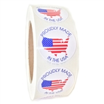 "American Flag Map ""Proudly Made in the USA"" Glossy Circle Label - 1.5"" Diameter - 1000 ct"