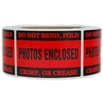 "Red Glossy ""Photos Enclosed"" Label - 2"" by 3"" - 500 ct"