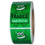 "Green Alien ""Fragile Handle with Care"" Glossy Labels - 3"" by 2"" - 500 ct"