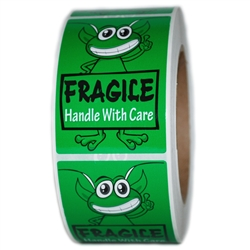 "Green Alien ""Fragile Handle with Care"" Labels - 3"" by 2"" - 500 ct"