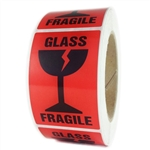 "Red ""Glass Fragile"" Labels - 3"" by 2"" - 500 ct"