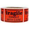 "Orange ""Fragile Handle with Care"" Label - 2"" by 3"" - 500 ct"