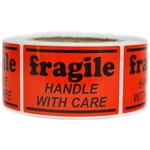 "Orange Glossy ""Fragile Handle with Care"" Label - 2"" by 3"" - 500 ct"