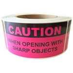 "Pink Glossy ""Caution When Opening with Sharp Objects"" Label - 2"" by 4"" - 500 ct"
