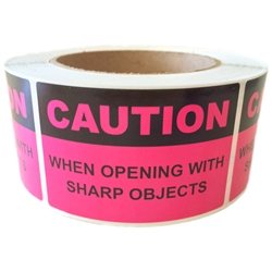 "Pink ""Caution When Opening with Sharp Objects"" Label - 2"" by 3"" - 500 ct"