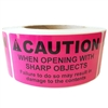 "Pink ""Caution When Opening with Sharp Objects May Damage"" Label - 4"" by 2"" - 500 ct"