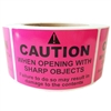 "Pink ""Caution When Opening with Sharp Objects May Damage"" Label - 3"" by 2"" - 500 ct"