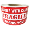 "Red ""Handle with Care FRAGILE Thank You"" Label - 3"" by 5"" - 500 ct"