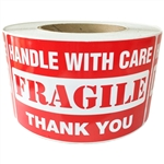 "Red Glossy ""Handle with Care FRAGILE Thank You"" Label - 3"" by 5"" - 500 ct"