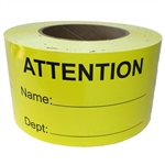 "Yellow Writeable ""ATTENTION"" Label - 3"" by 5"" -  500 ct"