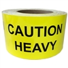 "Yellow ""Caution Heavy"" Labels - 3"" by 5"" - 500 ct"