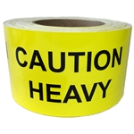 "Yellow Glossy ""Caution Heavy"" Labels - 3"" by 5"" - 500 ct"