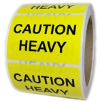 "Yellow ""Caution Heavy"" Labels - 3"" by 2"" - 500 ct"