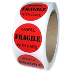 "Red Glossy ""FRAGILE Handle with Care"" Labels - 1.5"" Diameter - 500 ct"
