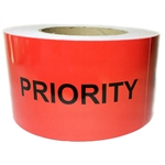 "Red Glossy ""Priority"" Labels - 3"" by 5"" - 500 ct"