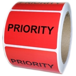 "Red Glossy ""Priority"" Label - 3"" by 2"" - 500 ct"