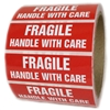 "Red ""Fragile Handle with Care"" Labels - 1"" by 3"" - 500 ct"