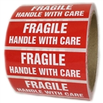 "Red Glossy ""Fragile Handle with Care"" Labels - 1"" by 3"" - 500 ct"