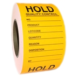 "Fluorescent Orange Writable ""Hold Quality Control"" Labels - 3"" by 5"" - 500 ct"