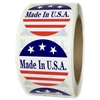 "Red, White and Blue ""Made in U.S.A."" 3 Stars Labels - 2"" diameter - 500 ct"