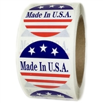 "Red, White and Blue ""Made in U.S.A."" 3 Stars Glossy Labels - 2"" Diameter - 500 ct"