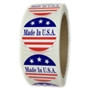 "Red, White and Blue ""Made in U.S.A."" 3 Stars Labels - 1.5"" diameter - 500 ct"