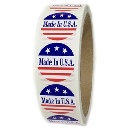 "Red, White and Blue ""Made in U.S.A."" 3 Stars Labels - 1"" diameter - 500 ct"