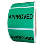 "Green Glossy ""Approved"" Label - 1.625"" by 2"" - 500 ct Roll"