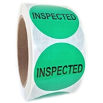 "Green Glossy ""Inspected"" Label - 2"" Diameter - 500 ct. Roll"