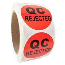 "Red ""QC Rejected"" Label - 2"" diameter - 500 ct Roll"
