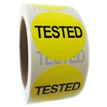 "Yellow Glossy ""Tested"" Label  - 2"" Diameter - 500 ct Roll"