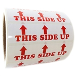 "Red ""This Side Up"" 3 Arrows Labels - 1"" by 4"" - 500 ct Roll"
