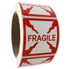 "Red ""Fragile"" Labels - 2"" by 2"" - 500 ct Roll"