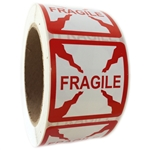 "Red Glossy ""Fragile"" Labels - 2"" by 2"" - 500 ct Roll"
