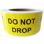 "Yellow Glossy ""Do Not Drop"" Labels - 3"" by 2"" - 500 ct Roll"