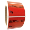 "Red ""Inspected By"" Labels - 1.625"" by 2"" - 500 ct Roll"