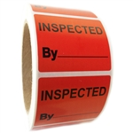 "Red Glossy ""Inspected By"" Labels - 1.625"" by 2"" - 500 ct Roll"