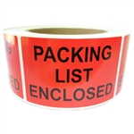 "Red ""Packing List Enclosed"" Labels - 3"" by 2"" - 500 ct Roll"