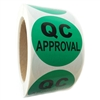"Green ""QC Approval"" Labels - 2"" diameter - 500 ct Roll"
