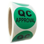 "Green Glossy ""QC Approval"" Labels - 2"" Diameter - 500 ct Roll"