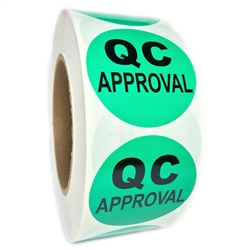 "Green ""QC Approval"" Labels - 2"" diameter - 1000 ct Roll"