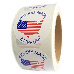 "American Flag Map ""Proudly Made in the USA"" Circle Label - 2"" - 500 ct"