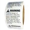 "White and Black ""Warning"" Suffocation Hazard Labels Stickers - 2"" by 2"" - 500 ct"
