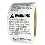 "White and Black Glossy ""Warning"" Suffocation Hazard Labels Stickers - 2"" by 2"" - 500 ct"