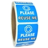 "Glossy Blue ""Please Reuse Me"" Sticker Label - 1.5"" by 1.5"" - 500 ct"