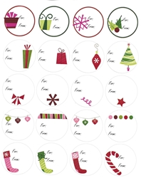 "Christmas Assorted Gift Tags - 2"" diameter - 12 Sheets of 20 Stickers - 240 ct"