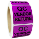 "Purple Glossy ""QC Vendor Return"" Sticker Label -2"" by 2"" - 500 ct"